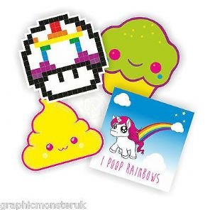 Sticker Pack Kawaii retro Rainbow Poo 8bit Fun Unicorn